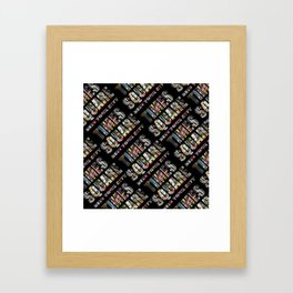 Times Square New York City (diagonal type on black) Framed Art Print