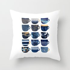 Pretty Blue Coffee Cups Throw Pillow