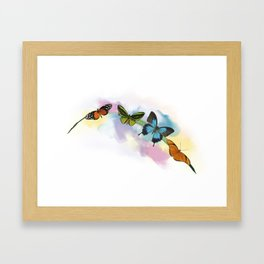 Digital Painting of Butterflies on the grass Framed Art Print