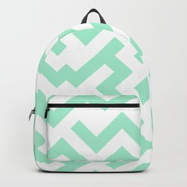 White and Magic Mint Green Diagonal Labyrinth Backpack
