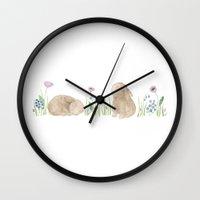 bunnies Wall Clocks featuring Bunnies by Yardia