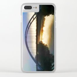 Bridge over foggy water Clear iPhone Case