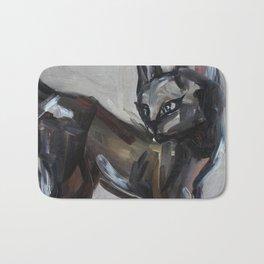 Cat, elegant animal, traditional art Bath Mat