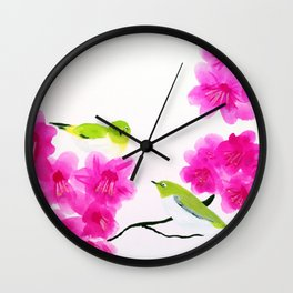 Japanese White Eye Birds Wall Clock