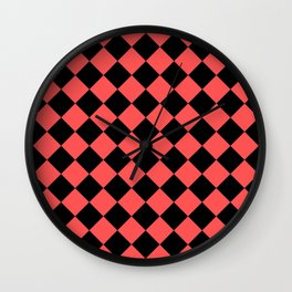 Rhombus (Black & Red Pattern) Wall Clock