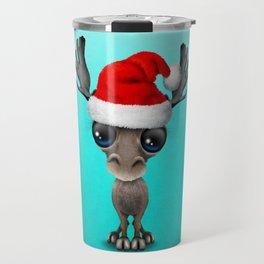 Christmas Moose Wearing a Santa Hat Travel Mug