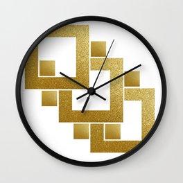 Golden Squares Wall Clock