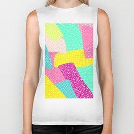 Modern summer rainbow color block hand drawn patchwork pattern illustration Biker Tank