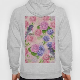 Robin and flowers, watercolor pattern Hoody