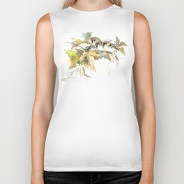 Sparrows and Fall Tree, three birds, brown green fall colors Biker Tank