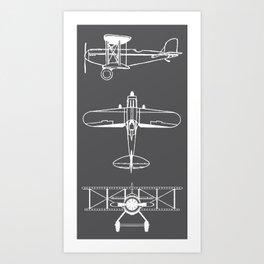 Biplanes // Charcoal Art Print