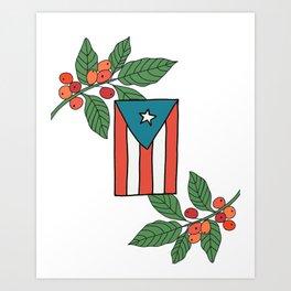 cafe y la bandera Art Print