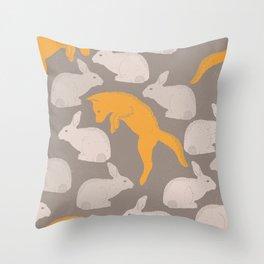 Hopping Fox And Rabbit Pattern Throw Pillow