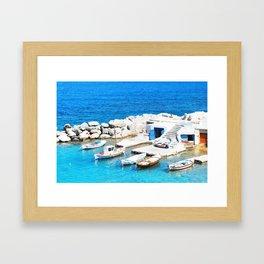 224. Little Fisherman's Harbour, Greece Framed Art Print