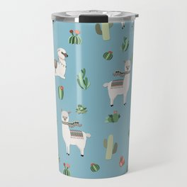 Lama and cactus pattern Travel Mug