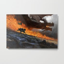 digital soldier dragon fire warrior horse flag knight fantasy Alejandro Olmedo Metal Print