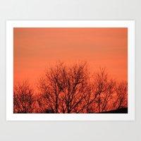 Tree Sunset Silhouette Art Print