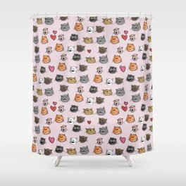 cats pattern pink Shower Curtain