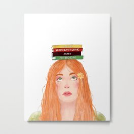 Book girl 02 Metal Print