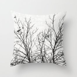 Birds in Branches Gothic Silhouette Throw Pillow