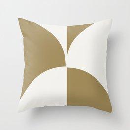 Diamond Series Round Checkers White on Gold Throw Pillow