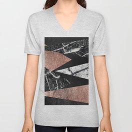 Elegant Modern Marble, Rose Gold, & Black Foil Triangles Unisex V-Neck