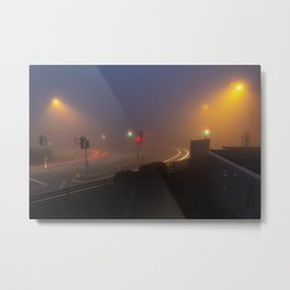 Traffic lights in the fog Metal Print