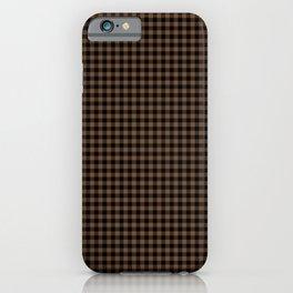 Mini Black and Brown Coffee Cowboy Buffalo Check iPhone Case