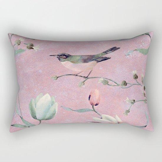 Bird on spring flowers Rectangular Pillow