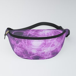 Atom symbol. Abstract night sky background Fanny Pack