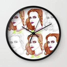 Fashion Illustration Portrait Watercolorpencil Wall Clock
