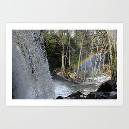 A Rainbow at Cucumber Falls in Ohiopyle Art Print
