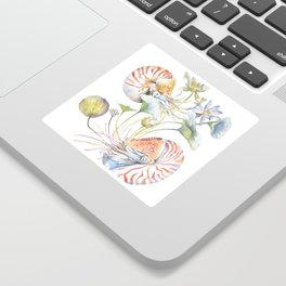 Nautilus and Lotus Surreal Watercolor Sea Animal Botanical Design Sticker