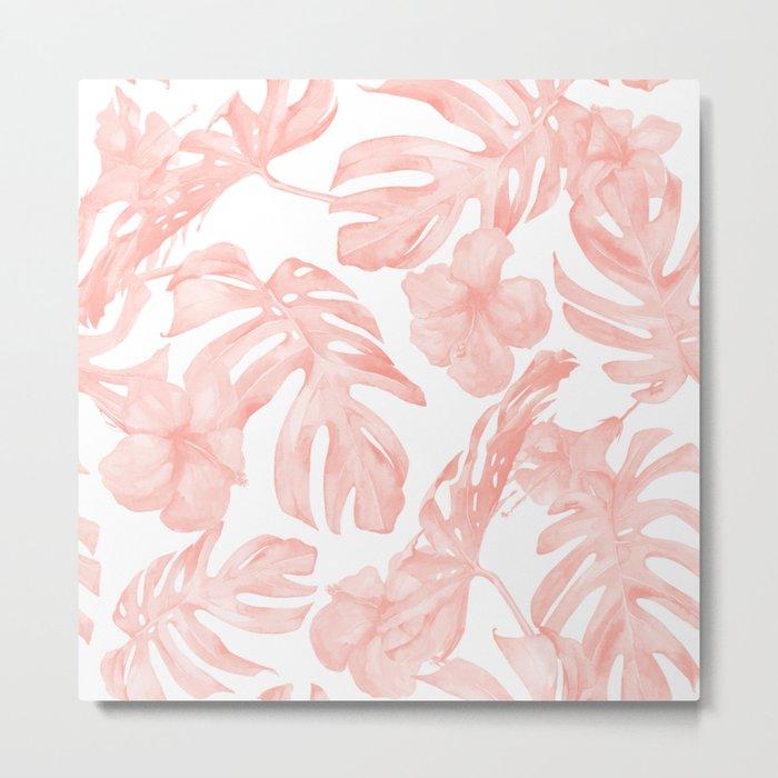 Tropical Palm Leaves Hibiscus Flowers Coral Pink Metal Print