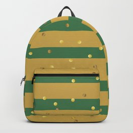 Christmas Golden confetti on Gold and Green Stripes Backpack