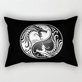 White and Black Yin Yang Dragons Rectangular Pillow