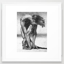Ink Dot Lady Framed Art Print