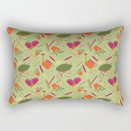 A Day in the Garden - Green Rectangular Pillow
