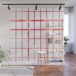 Minimalist grid in pink and red Wall Mural