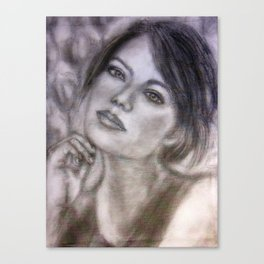 Pencil Portrait Drawing  - American Actress - Emma Stone Canvas Print