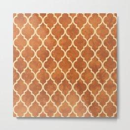 Classic Quatrefoil Lattice Pattern 912 Beige and Ochre Metal Print