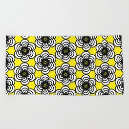 Yellow and Black Flowers Beach Towel