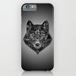 Abstract geometric mosaic wolf head collage of black textures iPhone Case