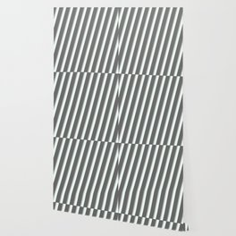 Dim Grey, Dark Gray, and Mint Cream Colored Lines Pattern Wallpaper
