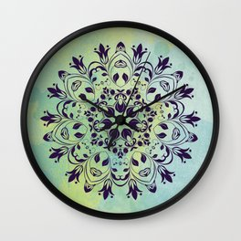 FLOURISH PURPLE AND BLUE WATERCOLOR MANDALA  Wall Clock