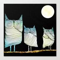 owls Canvas Prints featuring Owls by Brontosaurus