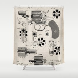 Colt Revolver Patent - Colt Firearm Art - Antique Shower Curtain