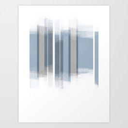 Blue and Grey Retro Style Geometric Abstract - Codex Art Print