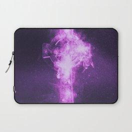 Celtic cross symbol. Abstract night sky background. Laptop Sleeve
