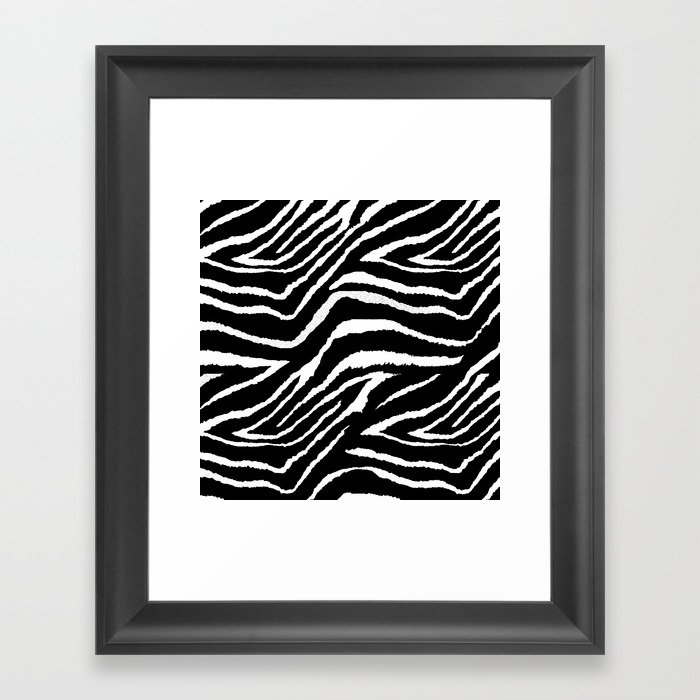 Animal Print Zebra Black and White Gerahmter Kunstdruck